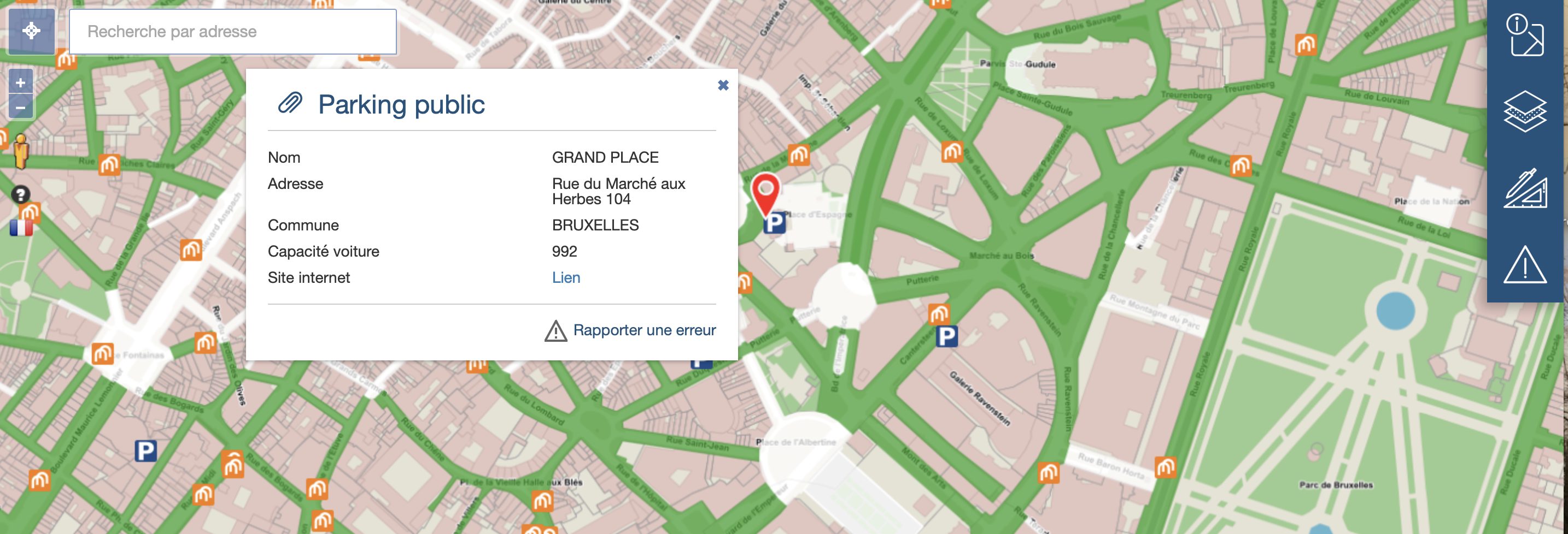 Mapviewer Parking brussels
